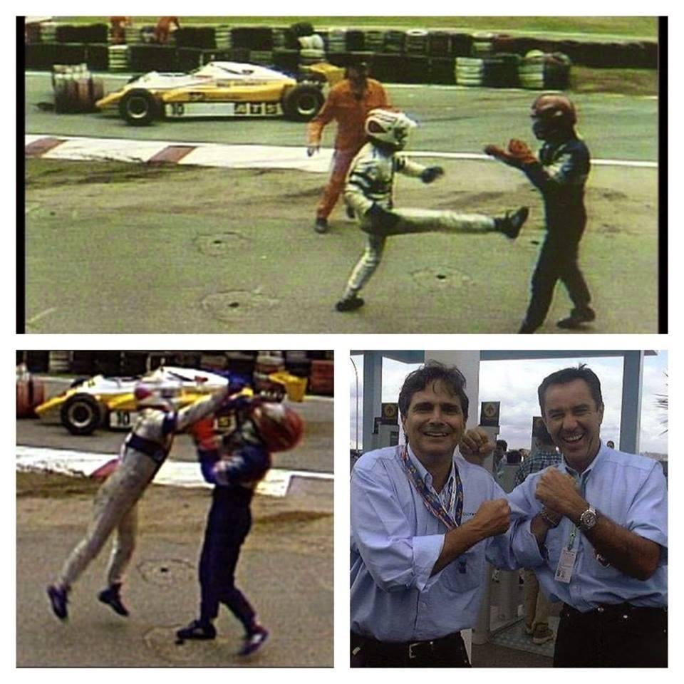 Iako je Pike na pravcu prošao pored Salazara, u trenutku kada je Čileanac želeo da se vrati iza Pikea, zakačio je zadnji desni točak Nelsonovog bolida, što je označilo kraj trke za oba vozača. Posle sudara sa Salazarom, vidno iznervirani Pike je izašao iz svog bolida i počeo da mlati nesrećnog Čileanca i rukama i nogama. Salazar nije želeo da mu uzvrati, jer mu je upravo Pike bio mentor kad je ušao u Formulu 1. Stojički je Čileanac izdržao udarce, a situacija se posle trke smirila. Pike se izvinio Salazaru, a razlog je između ostalog bio i taj što su mu mehaničari Brabam BMV-a saopštili da bi i da nije bilo sudara, morao da odustane, jer mu je motor bio na izdisaju.