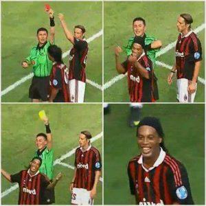 """Naime, pri rezultatu 1:0 u korist Intera zvezda Milana Ronaldinjo izveo je slobodan udarac, a nakon promašaja nervozno je počeo da prigovara sudiji koji je zbog toga odlučio da ga kazni kartonom. Međutim, umesto žutog, sudija je Brazilcu ekspresno i samouvereno pokazao crveni karton. Ugledavši Ronaldinjov šokirani izraz lica odmah je shvatio šta je učinio, pa je grešku """"rutinski"""" ispravio i nervoznom igraču pokazao samo žuti karton."""