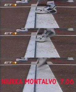 """Odmah pošto je novopečena Špankinja posle zaleta i odraza doskočila u pesak, bilo je jasno da je taj skok ukoliko je ispravan, sasvim dovoljan da ona """"zasedne"""" na čelo poretka. Kada je sudija pokazao belu zastavicu, i Fioni Mej je postalo jasno da će u poslednjem skoku izgubiti najsjajniju medalju, a 7,06 metara Niurke Montalvo u tom skoku, bilo je za 12 centimetara duže od dotadašnjeg najboljeg skoka Italijanke. Ipak, ono što će večito ostati kao pitanje dogodilo se prilikom odraza Montalvo, kada je atletičarka rođena na Kubi za """"dlaku"""" izbegla prestup, bar po sudijama."""