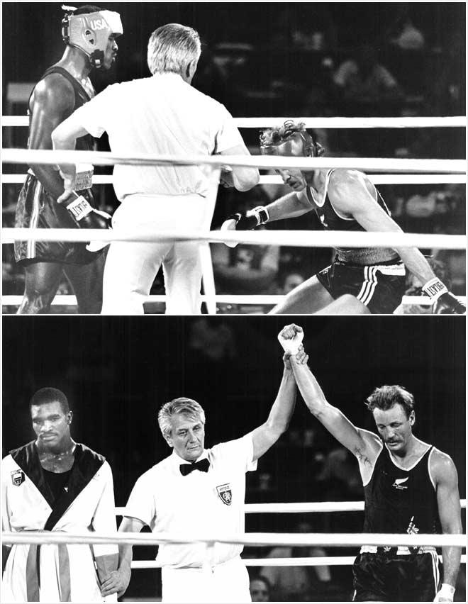 Ivander Holifild je poražen u polufinalu Igara u Los Anđelesu, jer ga je sudija Novičić diskvalifikovao zato što je udario protivnika pošto je on zaustavio borbu.