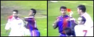 Bio je to Romario. Ušao je u igru u 75. minutu umesto Bugarina Stoičkova i odmah počeo da preti golu domaćih. Međutim, nije prošlo ni par minuta od njegovog ulaska u igru, dogodilo se nešto što je tada šokiralo ceo stadion, a moglo bi se reći i ceo tadašnji fudbalski svet. Naime, nakon završetka jedne akcije, i gužve u šesnaestercu, sudija je prišao Romariju noseći crveni karton visoko podignut u ruci. Nastalo je komešanje. Omaleni Brazilac se bunio i mnogima nije bilo jasno šta se dogodilo a onda se pojavio usporeni snimak. Dok se Dijego Simeone gledao u pravcu iz koga treba da doleti lopta, otpozadi mu je pritrčao razbesneli Romario i udarcem koga se ni najbolji bokseri ne bi postideli tresnuo Simeonea pravo u glavu, toliko snažno da je stameni Simeone završio na travi.