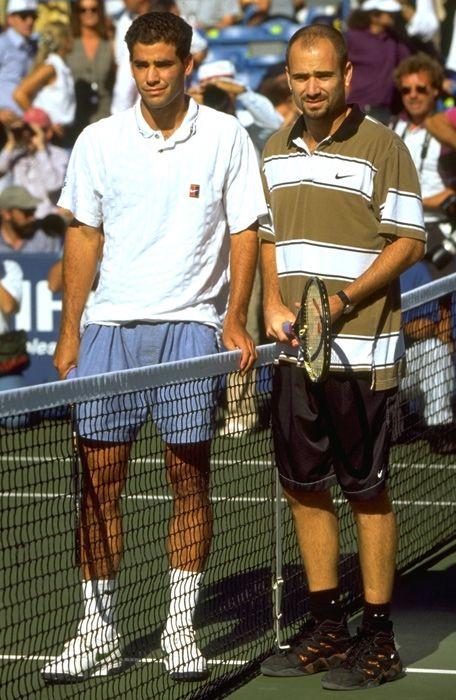 Pit Sampras i Andre Agasi pre početka finalnog meča na US Openu 1995. godine.