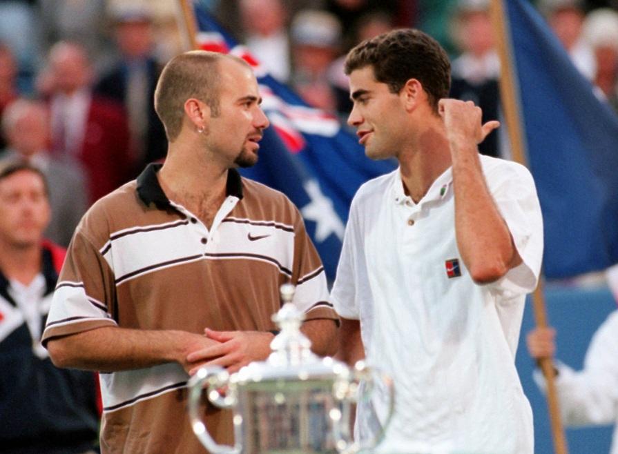 Sampras i Agasi u razgovoru posle finala US Opena 1995. godine. Photo: Kathy Willens