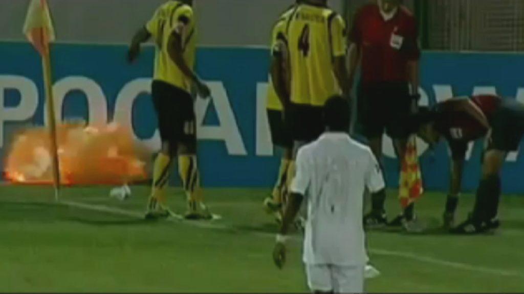 Trenutak kada je odmah pošto je Adel Kolahaj ispustio uz ruku, eksplozivna naprava eksplodirala na terenu.
