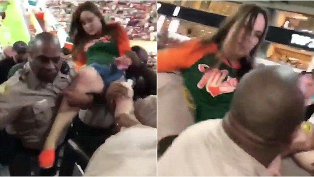 Navijačica Majamija udarila je policajca, koji joj je odmah uzvratio.