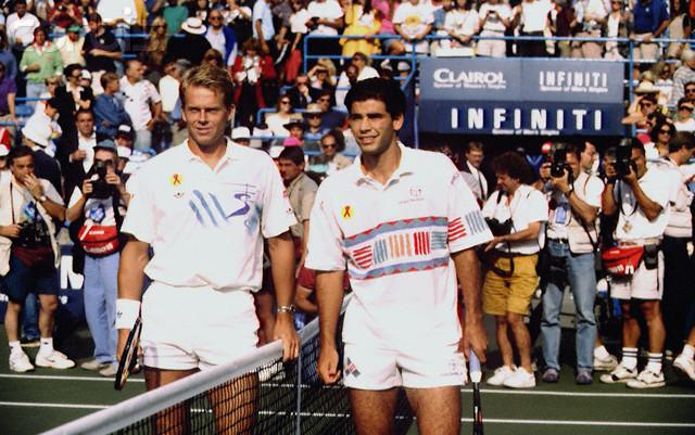 Stefan Edberg i Pit Sampras odigrali su fantastičan meč na završnom Mastersu 1993. godine. Photo: RICK/CORBIS SYGMA