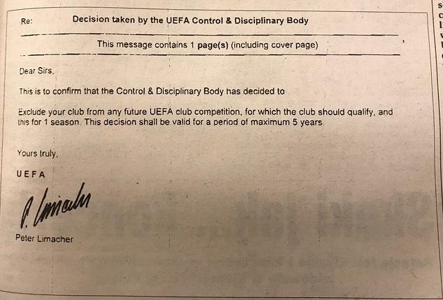 UEFA je suspendovala Vislu prvo na pet, ali je kazna preinačena na godinu dana suspenzije iz svih evropskih takmičenja.